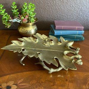 Vintage solid brass leaf shaped bowl